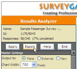 Results Analyzer Export Menu Option