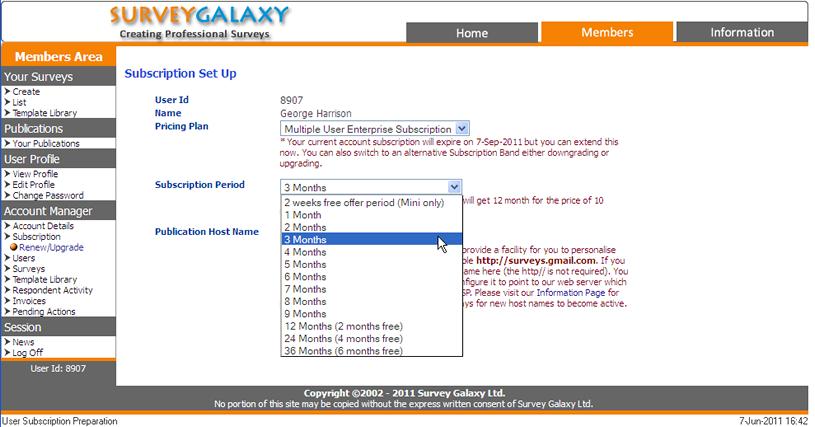 Survey Galaxy | Account Management Facility