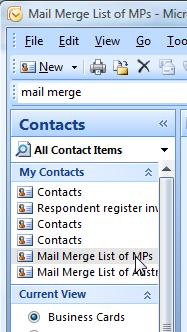 Survey galaxy mail merge office 2007 select the new folder by clicking on the new entry that will be included in the my contacts selection colourmoves